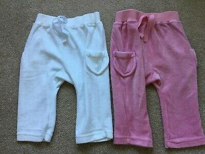 Girls 2x M&S Velour Trousers Pink/White Size 6-9 months VGC