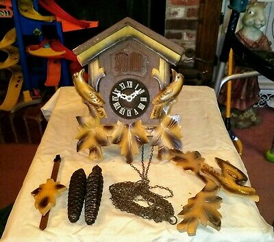 Vintage Black Forest Cuckoo Clock Made In Germany As Is Parts Repair