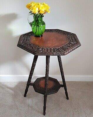 Beautiful Late 19th Century Anglo-Indian Carved Hardwood Side Table