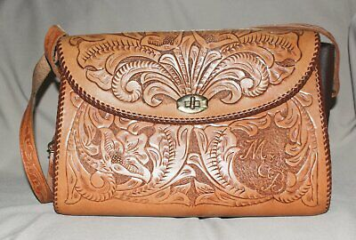 Vintage Handmade Tooled Leather Shoulder Purse Floral Pattern MEB Initials USA