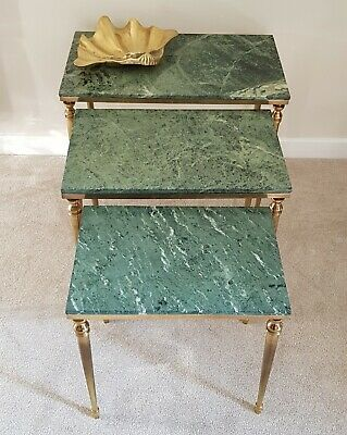 French Mid Century Brass and Green Marble Nest of Tables Hollywood Regency