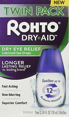 Rohto Dry-Aid Eye Relief Lubricant Drops, 2x10mL Bottles Per Box, Pack of 12