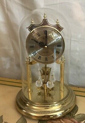 Beautiful Vintage Concordia Westminster ave maria gold tone glass dome Clock