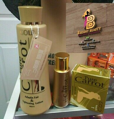 Gold Pure Carrot With Arbutin Fair Lightening Lotion,Extra whitening serum ,soap