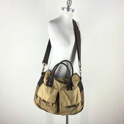 Fossil Travel Bag Weekender Overnight Canvas Brown Leather Straps Duffle