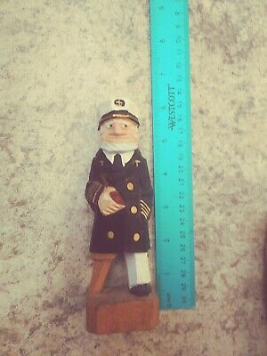 Vintage Quebec style wood sculpture folk art old sea captain unknown artist