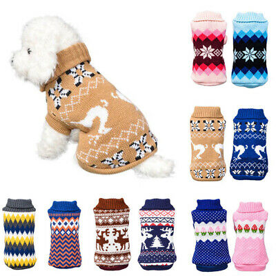 Pet Dog Winter Warm Jumper Pullover Sweater Small Medium Dog Clothes Outwear