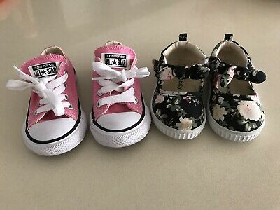 Size 4 Toddler Girl shoes / Pink Converse & Black Floral Flats