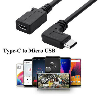 Cy_ 25cm USB 3.1 Type C Male Left Right Angle to Micro USB 5-Pin Female Cable We