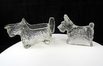 Le Smith & T.h. Stough Pressed Glass Scottie Dog Cream Pitcher & Candy Container