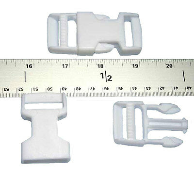 25 - 1 Inch White Side Release Plastic Buckles