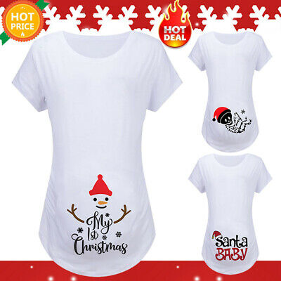 Pregnant Women Maternity Christmas Short Sleeve T-Shirt Casual Daily Tops Tee