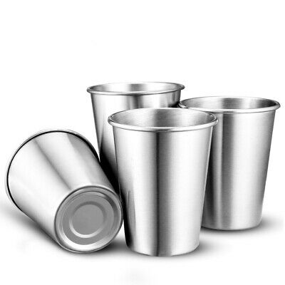 2pcs Stainless Steel Drinking Wine Tea Water Mug Whisky Cup Silver 4 Sizes