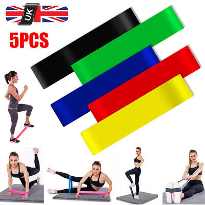 5pcs Latex Belt Tension Elastic Resistance Loop Bands Yoga Exercise Gym Training
