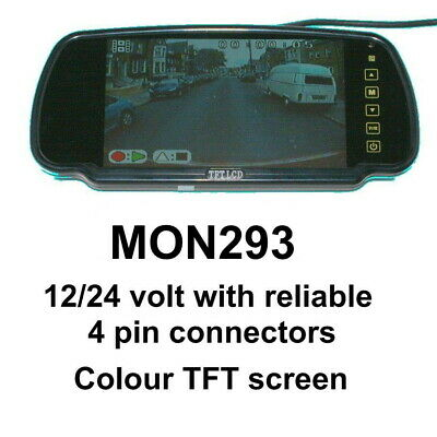 7 inch clip over mirror rear view monitor with bracket