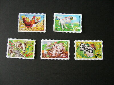 Down on the farm 5 x 50c stamps- used/off paper chicken,pig,goat,lab,cow