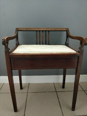 Antique Inlaid Mahogany Piano Stool, Dressing Table Stool, Circa 1900