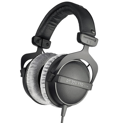 beyerdynamic DT 770 PRO 80 Ohm Over-Ear Studio Headphones in black. Enclosed for