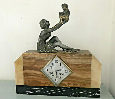 STATEMENT 1930'S French ART DECO MARBLE mantle clock w/ spelter girl with child