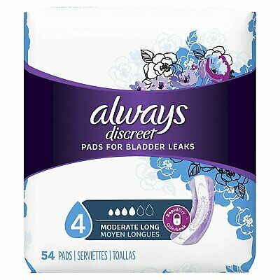 Always Discreet, Incontinence Pads, Moderate, Long Length, 54 Count...