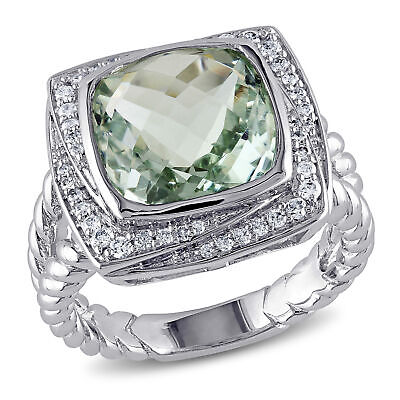 Amour Sterling Silver Green Amethyst and Diamond Ring