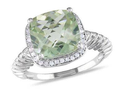 Amour Sterling Silver Green Amethyst and Diamond Cocktail Ring