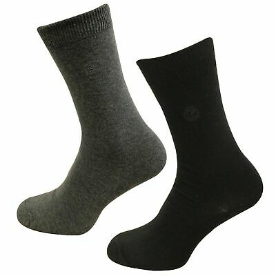 Timberland Crew Ribbed Mens Socks 2 Pair Pack Unisex Black Grey A1E8T 001 A31A