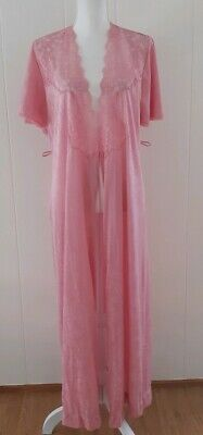 Vintage Vanity Fair Satin Lace Robe Pink Floral Flutter Sleeve Full Length SMALL