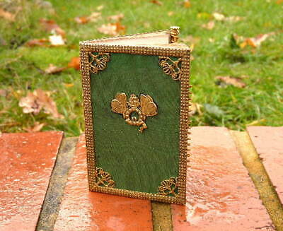 FRENCH 19th cent. ANTIQUE AIDE MEMOIR BOOKLET / BRASS BINDING & ORIGINAL PAPERS