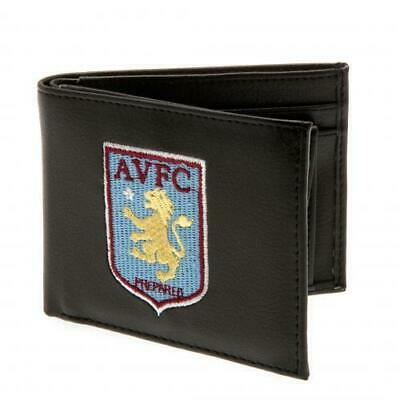 Aston Villa FC Black Faux Leather Wallet Embroidered Club Crest Logo Official