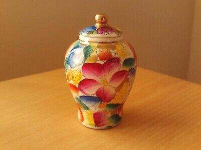 Vintage Small Oriental Hand Painted Lidded Ginger Jar.