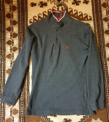 Fred Perry Long Sleeve Size S Grey Polo Shirt Vintage