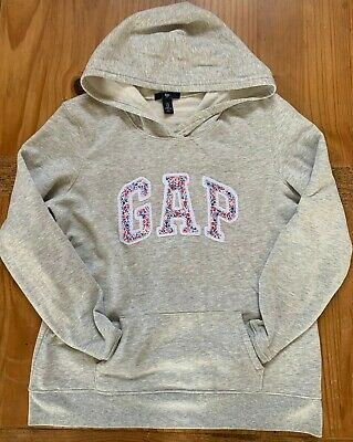 GAP Women's Size M Light Heather Grey Floral Soft Fleece Lined Logo Hoodie EUC