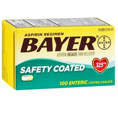 Bayer Coated 325mg Caplet Size 100ct Bayer Reg Safty Coated Caps 325mg 100ct