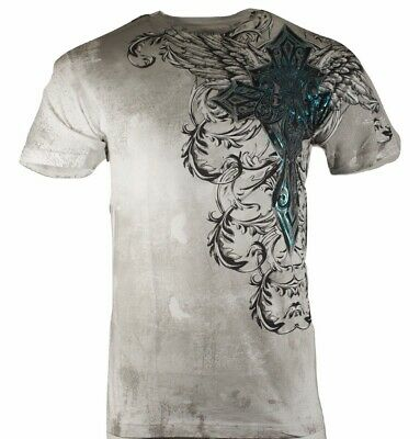 Xtreme Couture by Affliction Short Sleeve T-Shirt Mens BASTILLE MASS Gray Blue