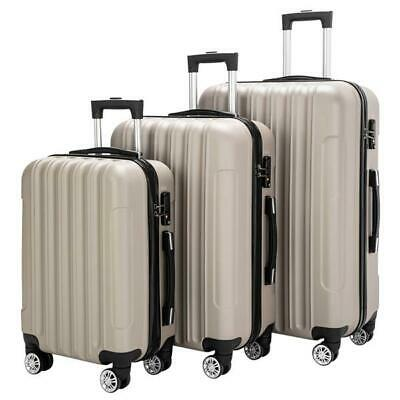 3PCS Champagne Luggage Travel Set Bag ABC Trolley Hard Shell Suitcase w/TSA lock