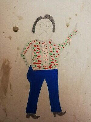 Bill Traylor outsider artist replica Painting (Mexican man in spotty shirt,1939)