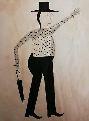 Bill Traylor outsider artist replica Painting (Grand gentleman with umbrella)