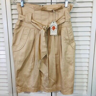 Super Soft Womens TULLE Belted Skirt Beige Lined Belted Zip Up 100% Cotton M New