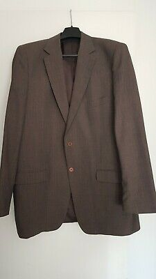 Tailored large man's 2-piece suit Dormeuil 'Voyage' cloth, charcoal/brown stripe