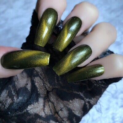 Hand Painted Coffin Extra Long False Nails Green Gel Press On Nails