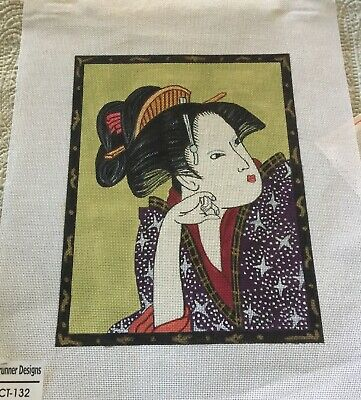 Needlepoint Canvas HP of Purple Courtesan Oriental Lady- Sunrunner Design