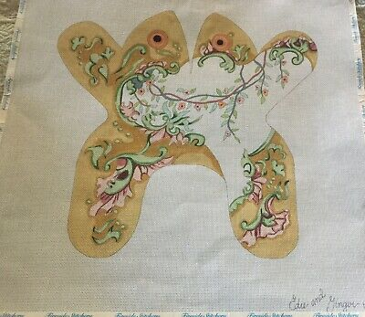 Handpainted NeedlepointCanvas Frog by Edie and Ginger