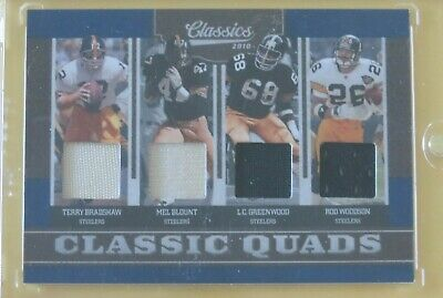 2010 Classics Quads Steelers Patch 16/25 Terry Bradshaw Blount Greenwood Woodson