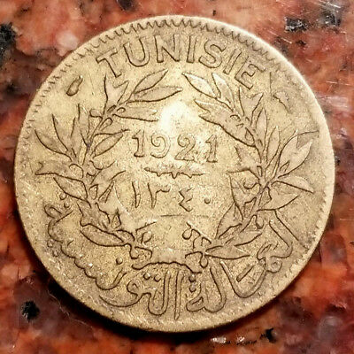 1921 Tunisia 1 Franc Coin - High Grade - Aluminum / Bronze - #2715