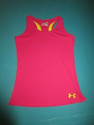 UNDER ARMOUR Girls Pink Yellow Ribbed Tank Top Size Large L
