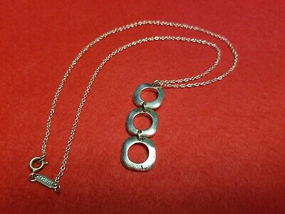 TIFFANY & CO 925 PENDANT 925 ITALY Necklace sterling silver square circle design