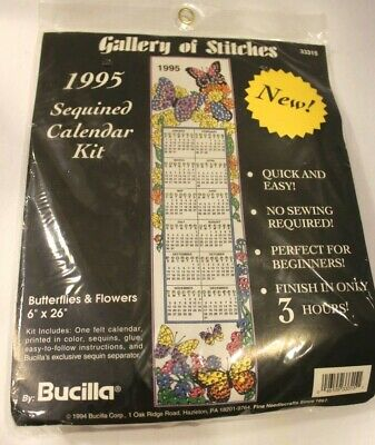 Vtg 1995 Bucilla Gallery of Stitches Butterflies Calendar kit Sequins 33315 NEW
