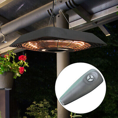 Patio Electric Hanging Ceiling Heater 2000W Halogen w/ Remote Control Aluminium