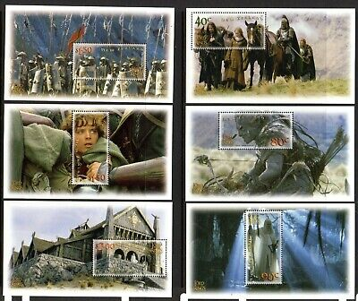 2002 NEW ZEALAND LORD OF THE RINGS 2nd issue six minisheets SG2550-2555 muh